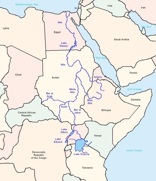 Mapa do Rio Nilo, suas confluências e afluências.