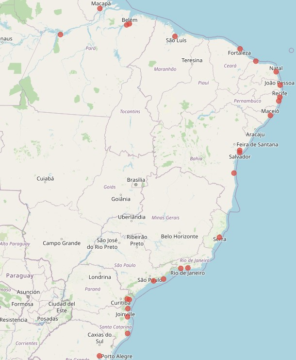 Mapa do Brasil com a localização dos terminais portuários