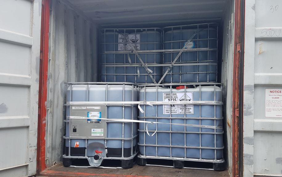Embalagem do tipo IBC utilizada em container Dry Box.
